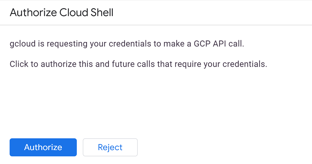 Google Cloud Shell Command